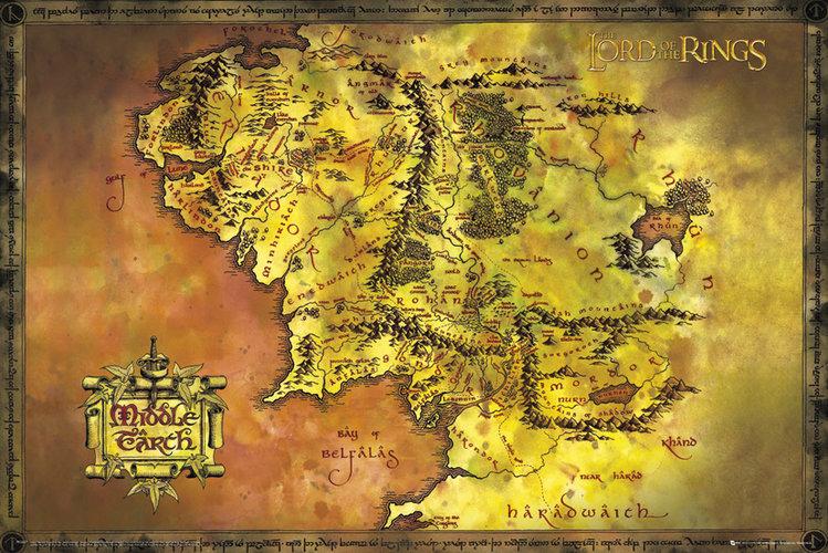 plakat z mapą Śródziemia